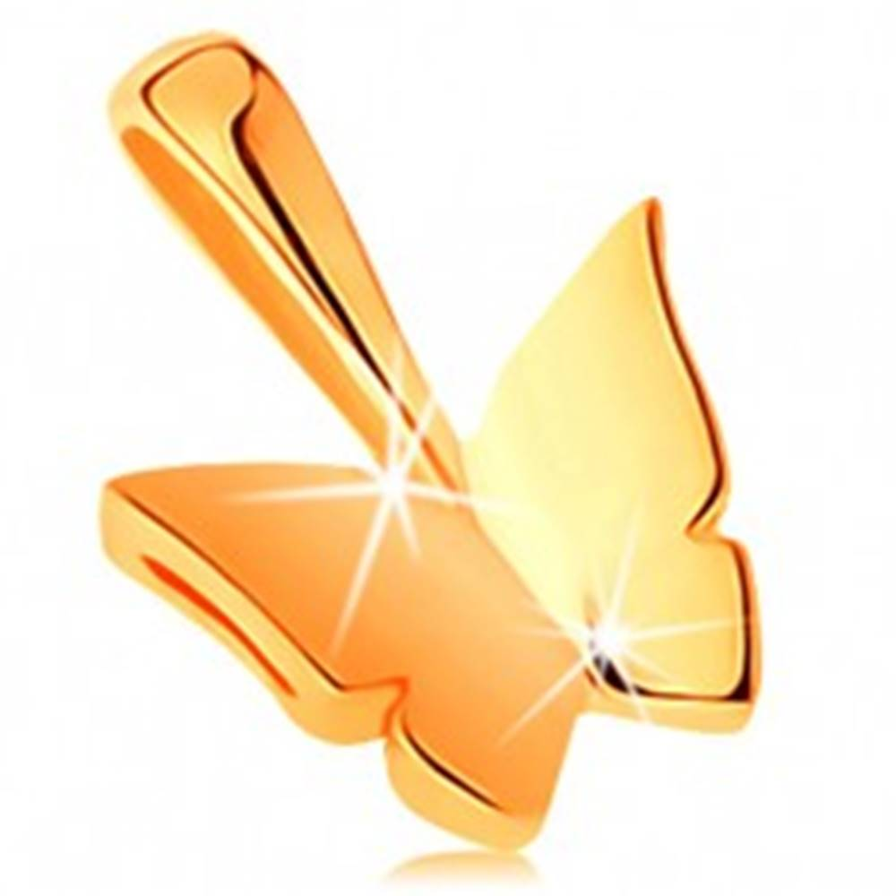 Šperky eshop Ligotavý prívesok zo žltého 14K zlata - malý zrkadlovolesklý motýlik
