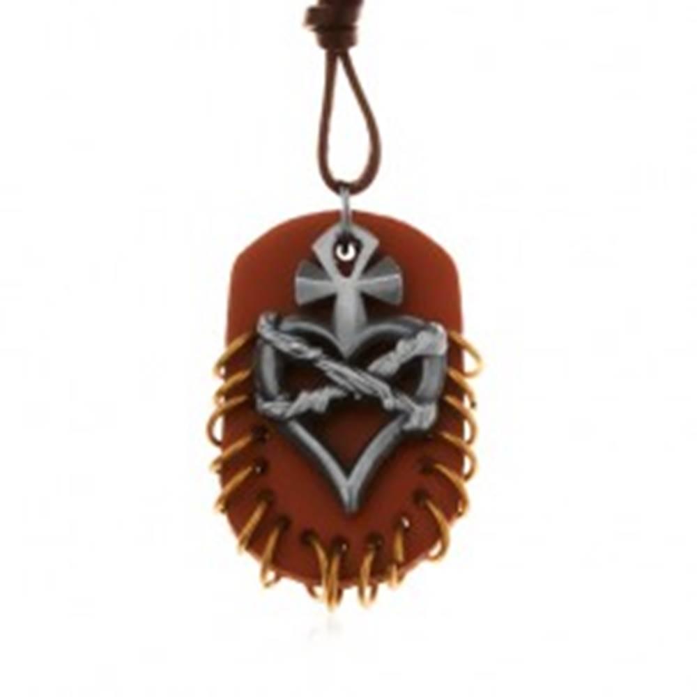 Šperky eshop Náhrdelník z umelej kože, prívesky - hnedý ovál s krúžkami, srdce s krížom a drôtom
