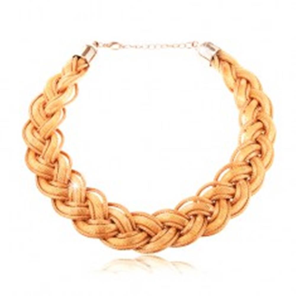 Šperky eshop Náhrdelník zo zapletených retiazok a šnúrok v zlatom odtieni, karabínka