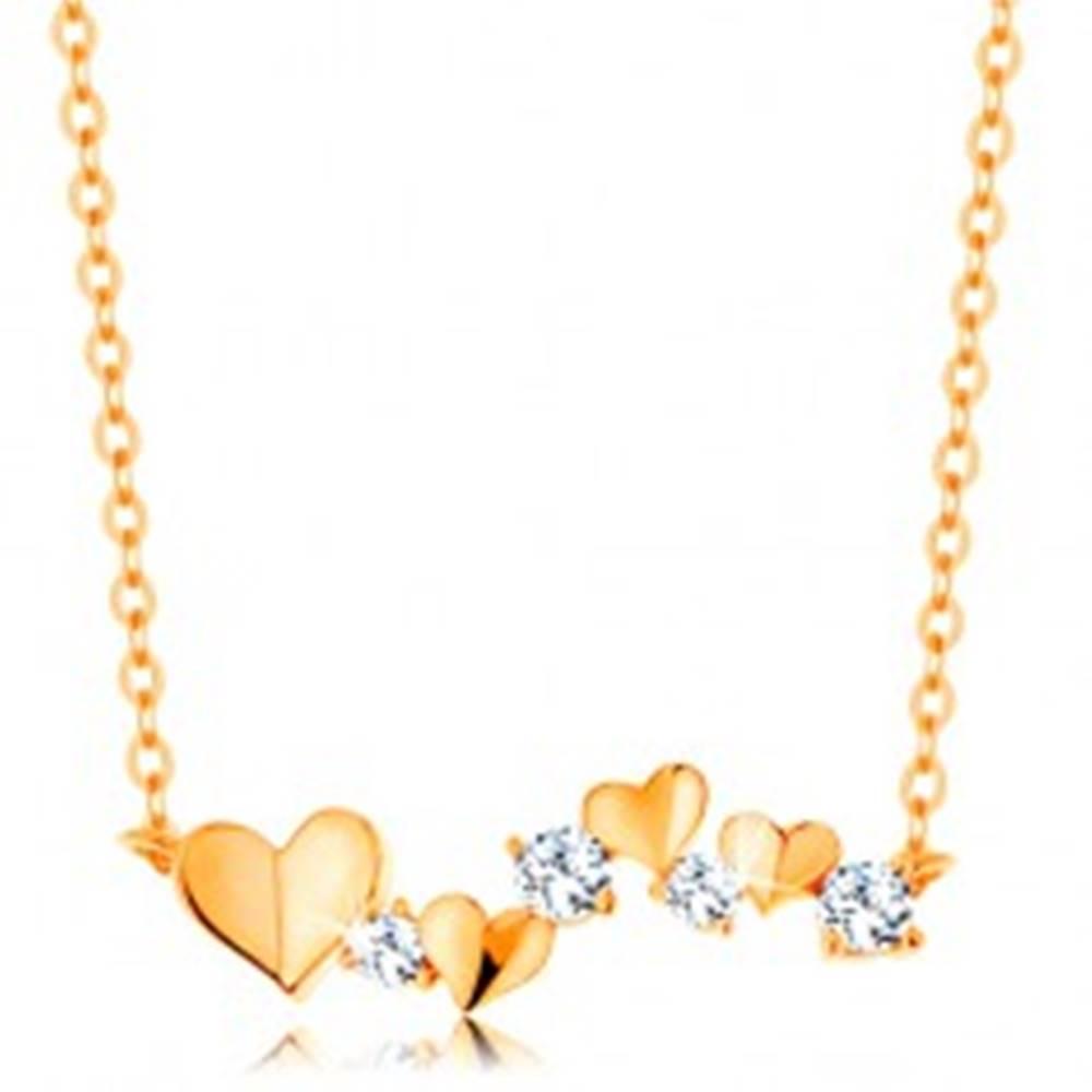 Šperky eshop Náhrdelník zo žltého 14K zlata - srdiečka a číre zirkóny, jemná retiazka
