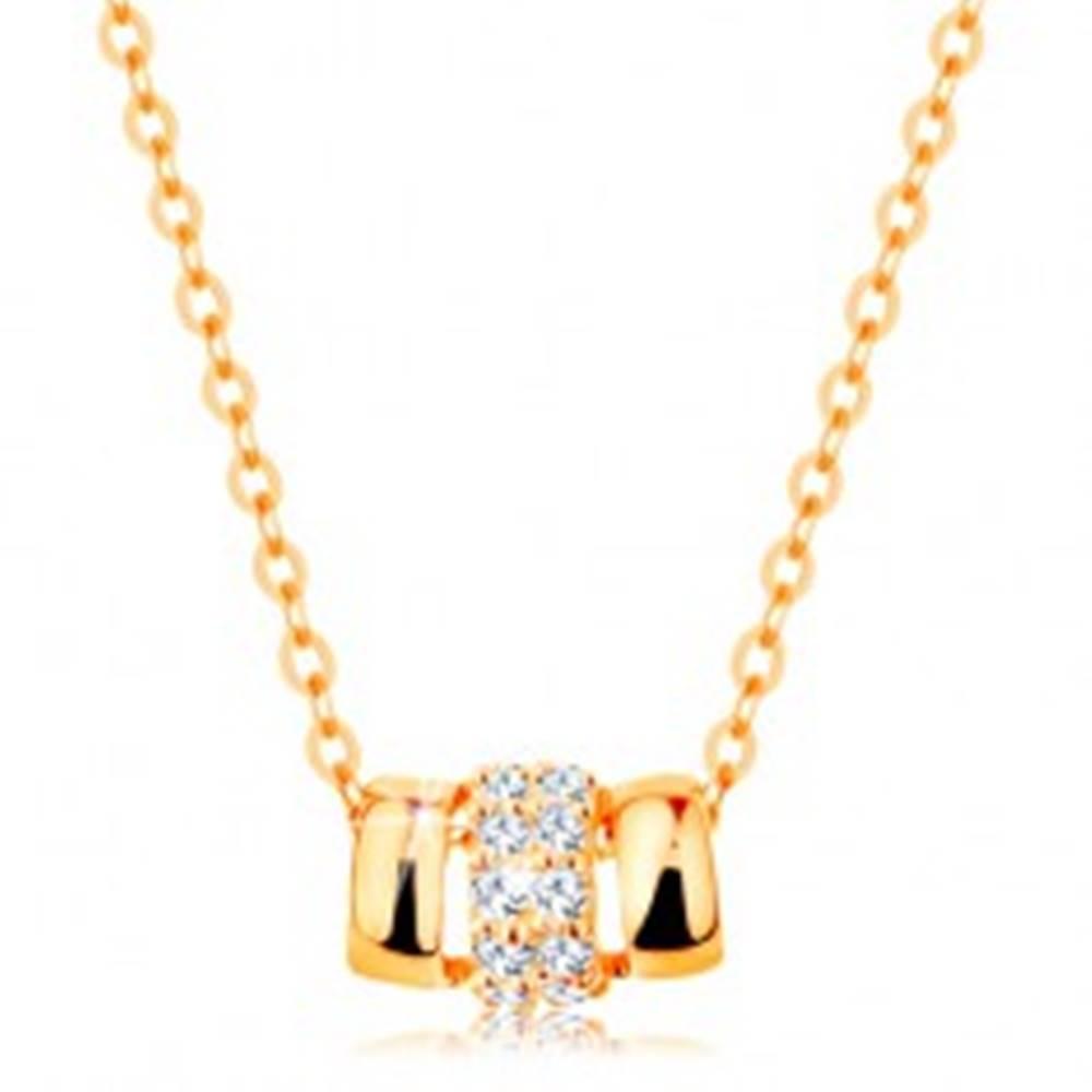 Šperky eshop Náhrdelník zo žltého 14K zlata, tri spojené oblúčiky - dva hladké a jeden zirkónový