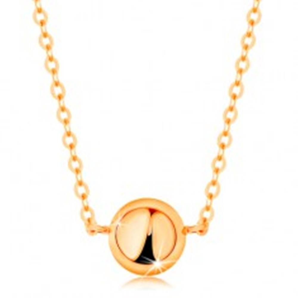 Šperky eshop Náhrdelník zo žltého 14K zlata - zrkadlovolesklá pologulička, jemná retiazka