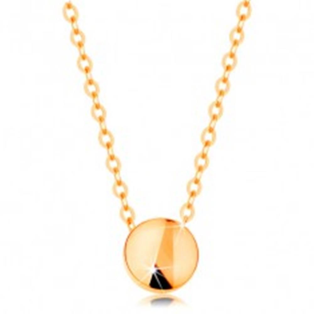 Šperky eshop Náhrdelník zo žltého zlata 585 - lesklý kruh, retiazka z oválnych očiek