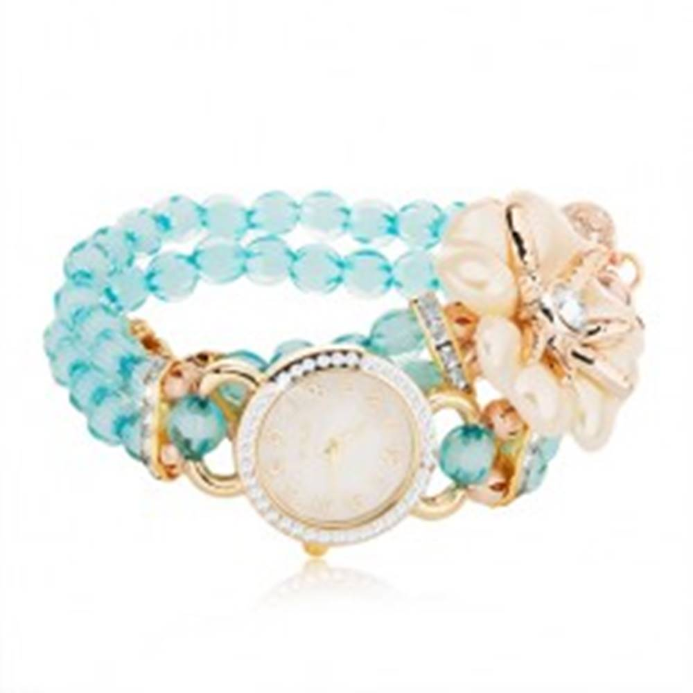 Šperky eshop Náramkové hodinky z modrých korálok, ciferník so zirkónmi, biely kvet