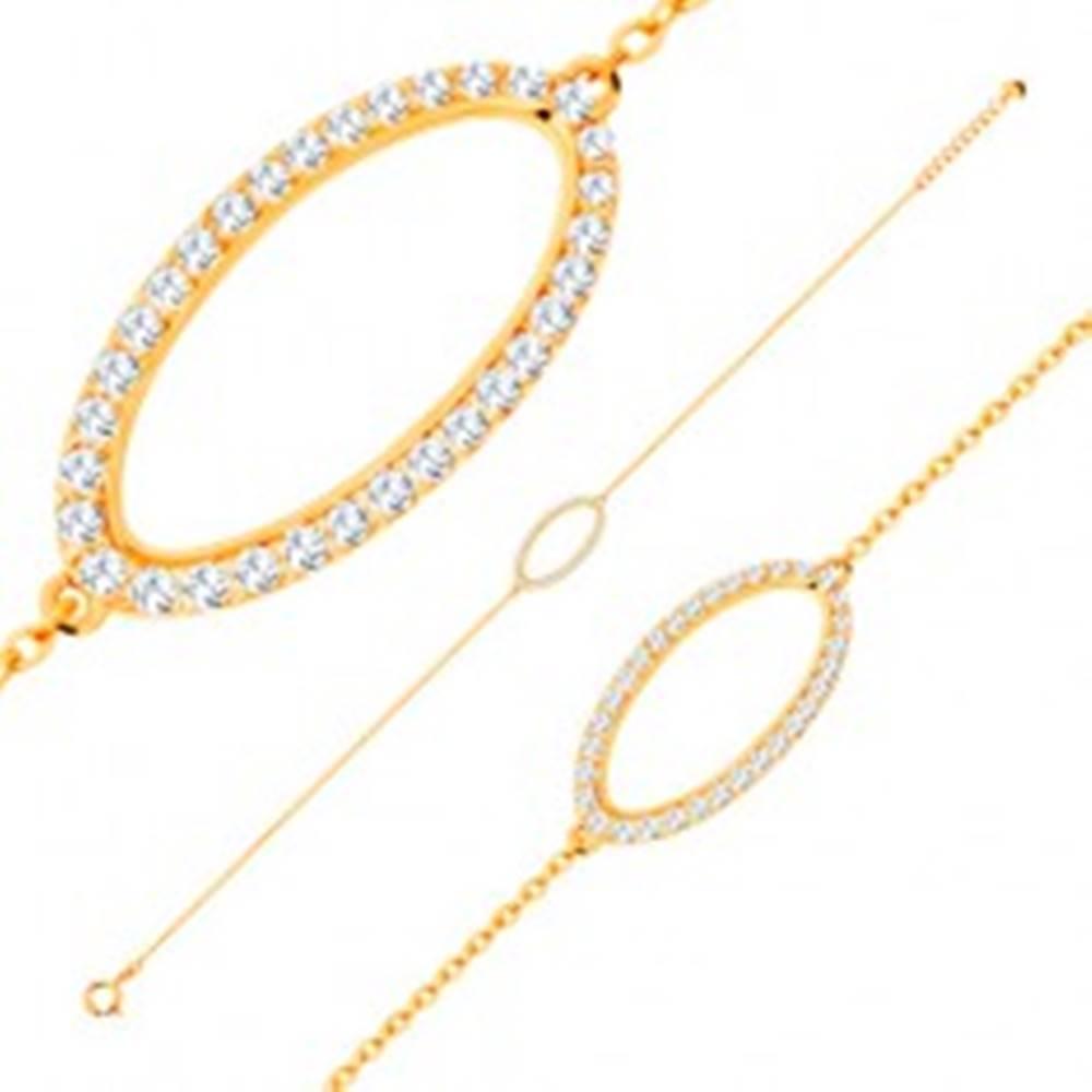 Šperky eshop Náramok zo žltého 14K zlata - trblietavý obrys oválu so zirkónmi čírej farby
