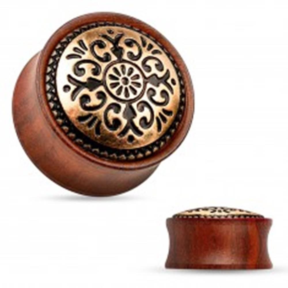 Šperky eshop Sedlový plug do ucha z dreva mahagónovej farby, vyrezávaný kruh - Hrúbka: 10 mm