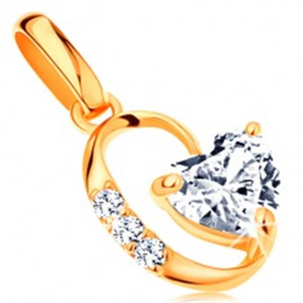 Šperky eshop Zlatý 14K prívesok - číre zirkónové srdiečko, oválna kontúra s drobnými zirkónikmi