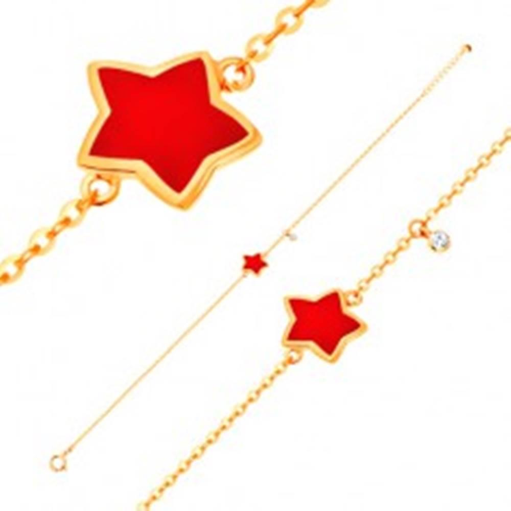 Šperky eshop Zlatý náramok 585 s príveskami - hviezda s červenou glazúrou, číry zirkón