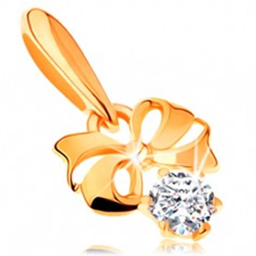Šperky eshop Zlatý prívesok 585 - lesklá mašlička zdobená výrezmi, okrúhly číry zirkón
