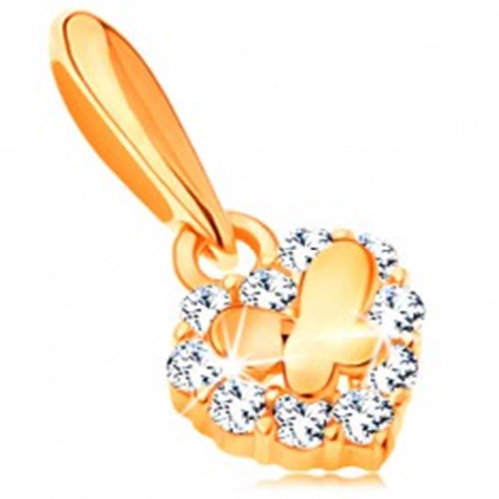Šperky eshop Zlatý prívesok 585 - malé ligotavé srdiečko so zirkónmi a lesklý motýlik