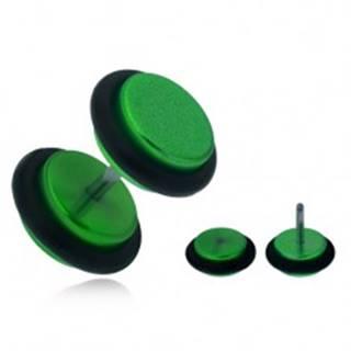 Falošný plug do ucha, lesklé zelené akrylové kolieska