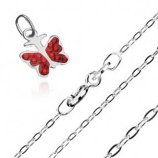 Náhrdelník - retiazka a prívesok červeného motýľa, striebro 925