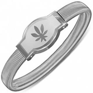 Náramok z ocele - zaoblená známka s listom konope, rozťahovací