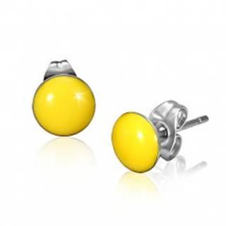 Oceľové náušnice so žltými vypuklými kruhmi a puzetkami