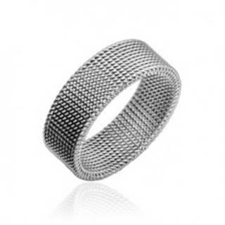 Oceľový prsteň striebornej farby s vypletaným sieťovaným vzorom, 8 mm - Veľkosť: 47 mm