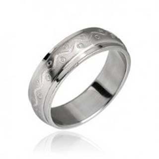 Oceľový prsteň vzor vlnka s bodkami - Veľkosť: 49 mm