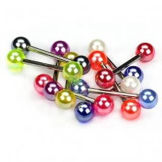 Piercing do jazyka, farebné perleťové guličky - Farba piercing: Biela