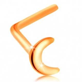 Piercing do nosa zo žltého 14K zlata - malý lesklý a plochý mesiačik, zahnutý