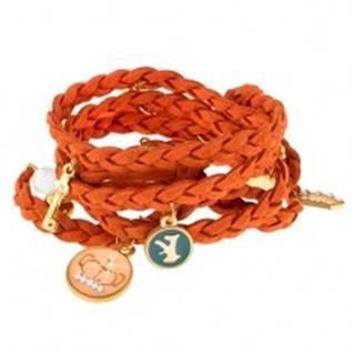 Pletený náramok oranžovej farby, drobné prívesky rôznych tvarov a farieb