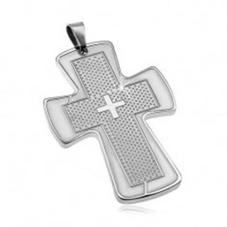 Prívesok z chirurgickej ocele striebornej farby - mohutný kríž