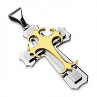 Prívesok z chirurgickej ocele - trojitý kríž zlatej a striebornej farby