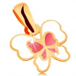 Prívesok zo žltého 14K zlata, motýľ zdobený bielou a ružovou glazúrou