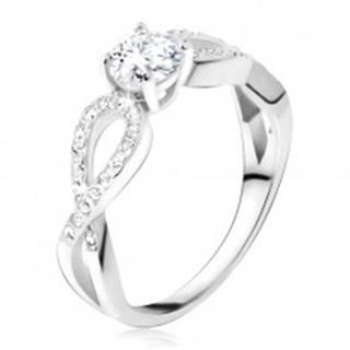 Prsteň s čírym okrúhlym kameňom, zirkónové slučky, striebro 925 - Veľkosť: 48 mm