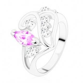 Prsteň s rozdelenými ramenami, ornament so svetlofialovým zrnkom - Veľkosť: 49 mm