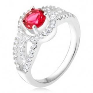 Prsteň striebro 925, červený kameň so zirkónovým rámom, oblé línie - Veľkosť: 49 mm