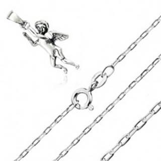 Strieborný 925 náhrdelník - prívesok anjelika, retiazka z hladkých oválnych očiek