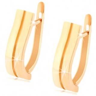 Zlaté náušnice 585 - dva jemne zvlnené pásiky, hladký lesklý povrch