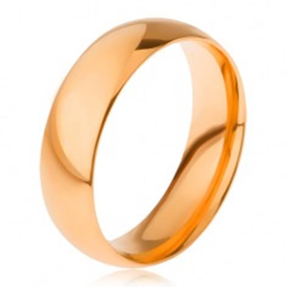 Šperky eshop Hladká lesklá obrúčka z ocele 316L, zlatý odtieň, 6 mm - Veľkosť: 56 mm