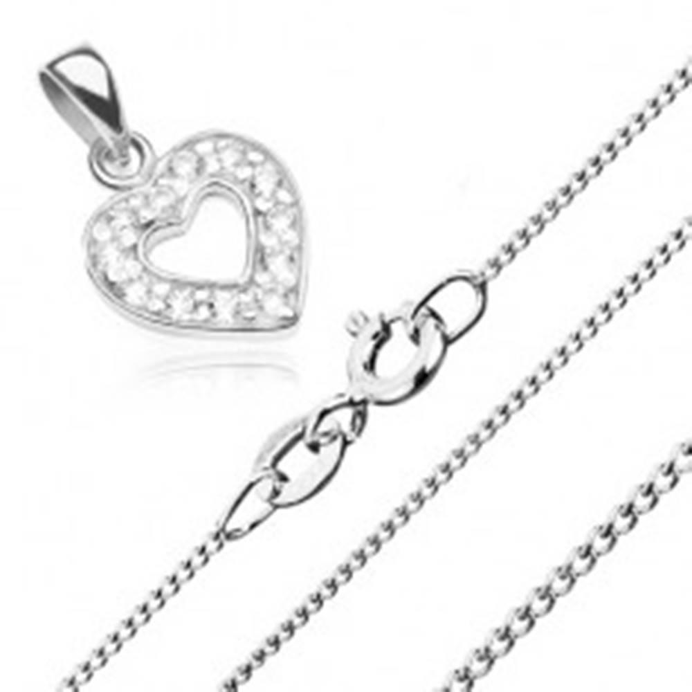 Šperky eshop Náhrdelník zo striebra 925, zirkónový obrys srdca a ligotavá retiazka