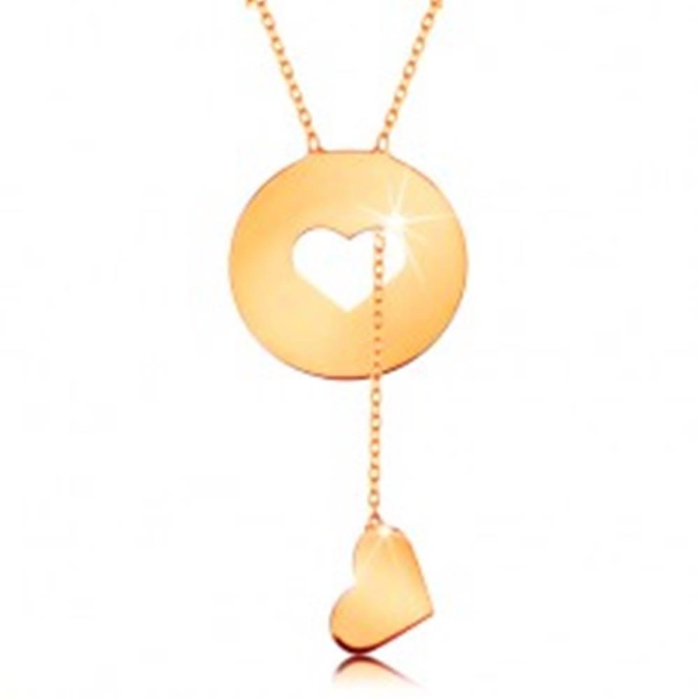 Šperky eshop Náhrdelník zo žltého 14K zlata - kruh so srdiečkovým výrezom a visiacim srdcom