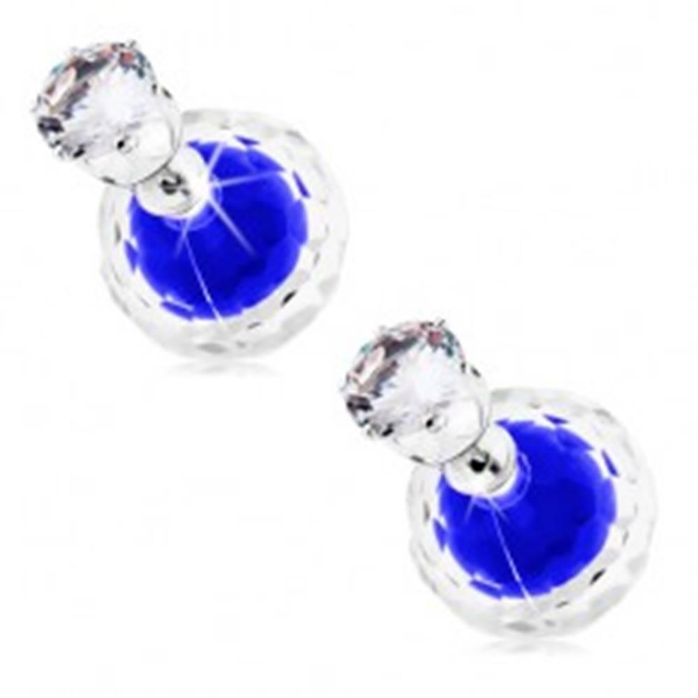 Šperky eshop Napichovacie náušnice, dve guličky - číra a modrá, zirkón v objímke
