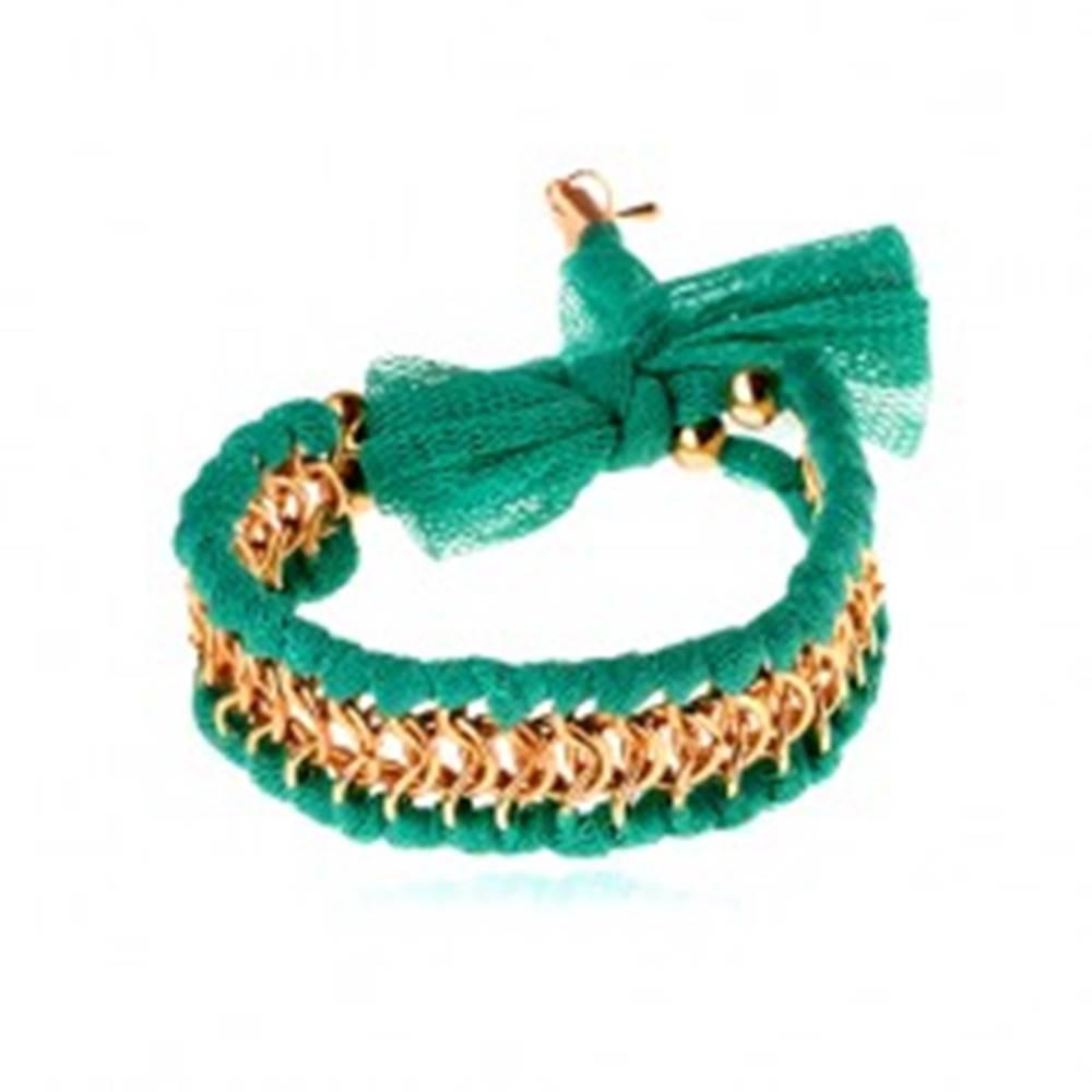 Šperky eshop Náramok, tyrkysová sieťovina, prepletené krúžky zlatej farby, mašlička