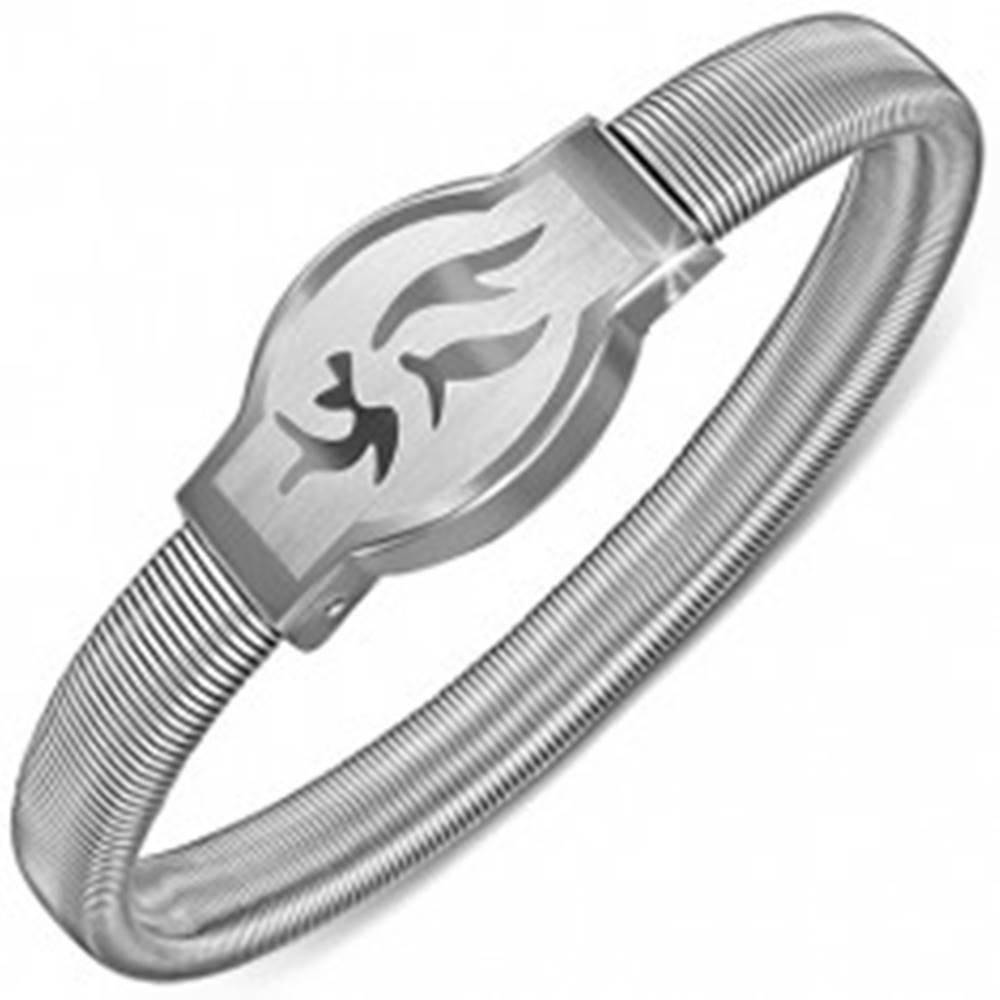 Šperky eshop Náramok z ocele - zaoblená známka s kmeňovým symbolom, rozťahovací
