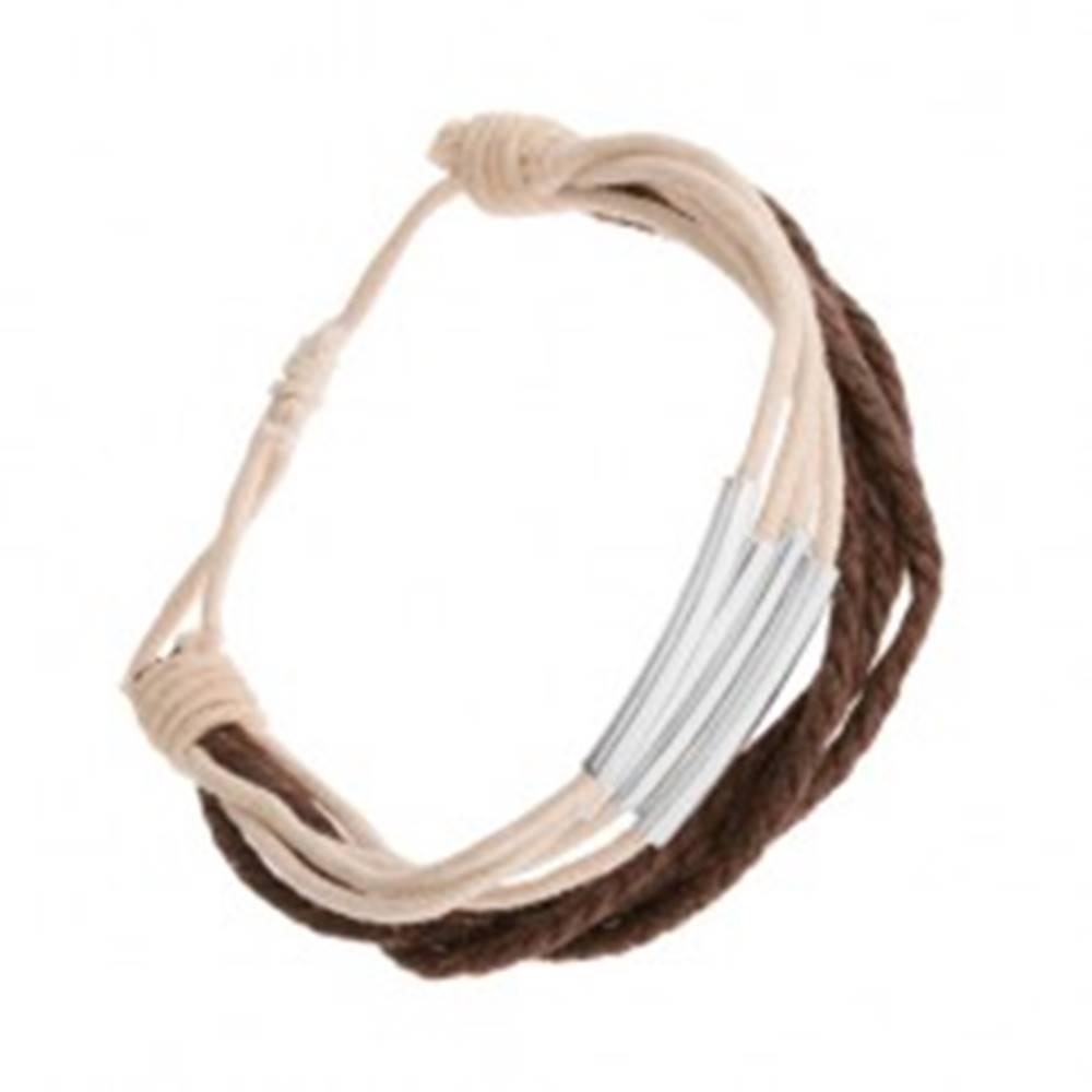 Šperky eshop Nastaviteľný náramok zo šnúrok, biely a hnedý odtieň, oceľové články