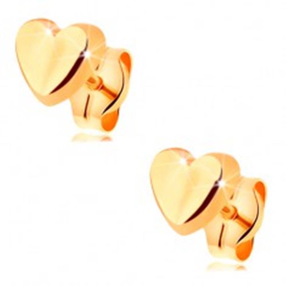 Šperky eshop Náušnice v žltom 14K zlate - drobné srdiečko s jemne vypuklým povrchom