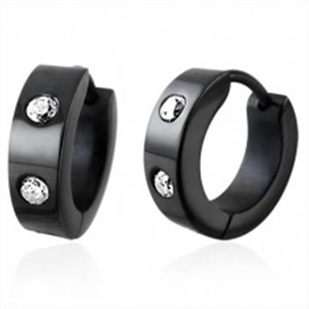 Šperky eshop Náušnice z chirurgickej ocele, čierny odtieň, dva okrúhle číre zirkóniky