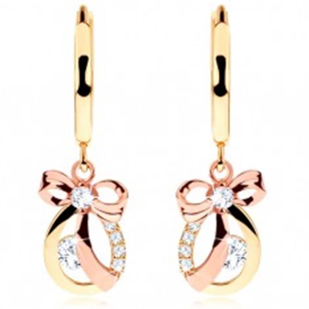 Šperky eshop Náušnice zo 14K zlata - lesklý krúžok, kontúra kvapky s mašľou a zirkónmi