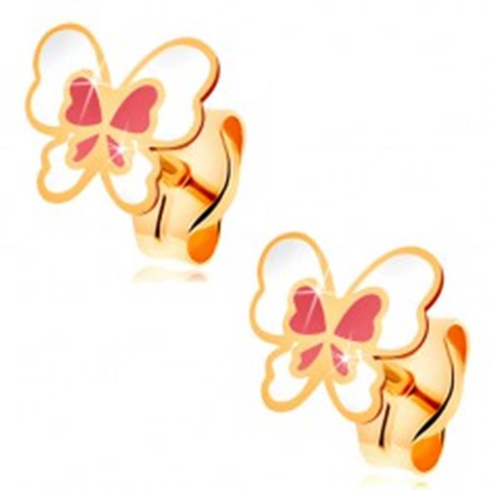 Šperky eshop Náušnice zo žltého 14K zlata, motýľ zdobený bielou a svetloružovou glazúrou