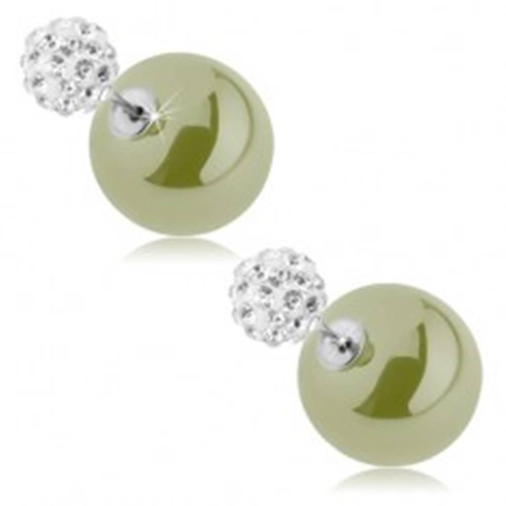 Šperky eshop Obojstranné náušnice, guličky - zirkónová a hladká, pistáciovozelená farba