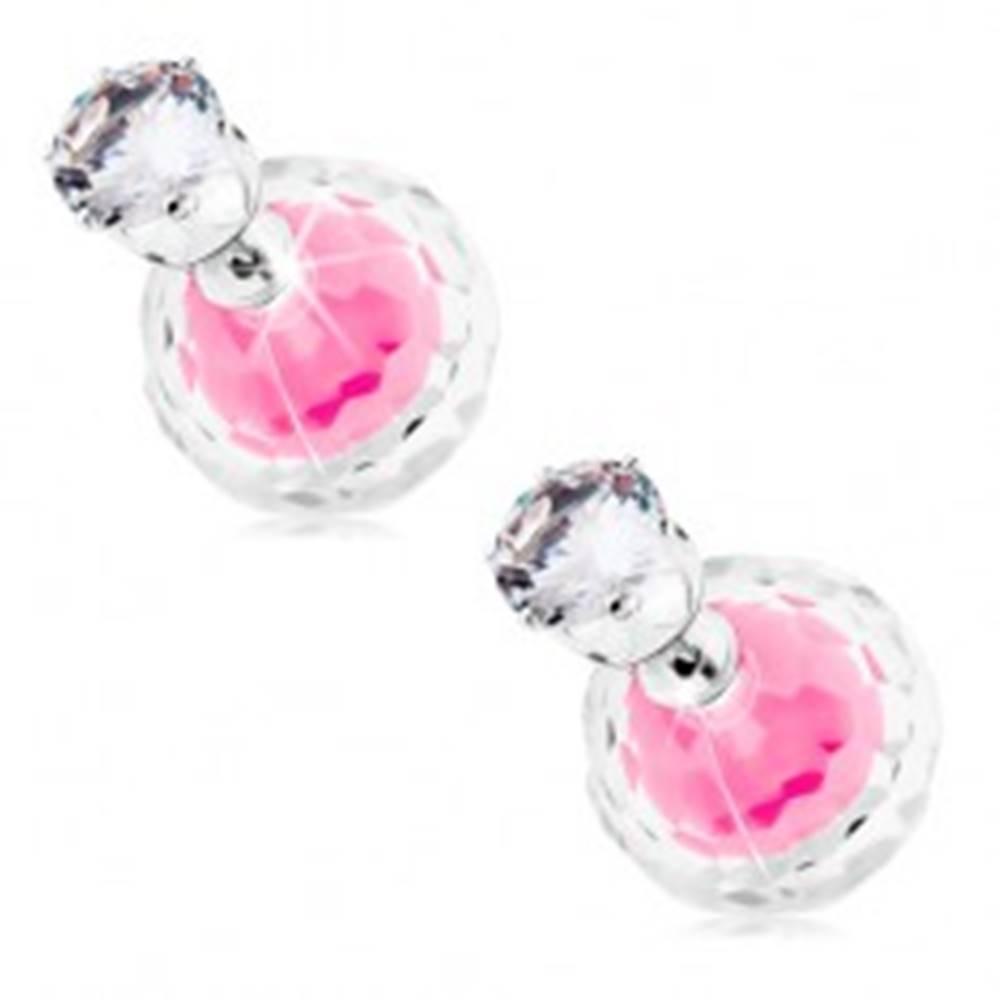 Šperky eshop Obojstranné náušnice striebornej farby, dve guľôčky - číra a ružová, zirkón