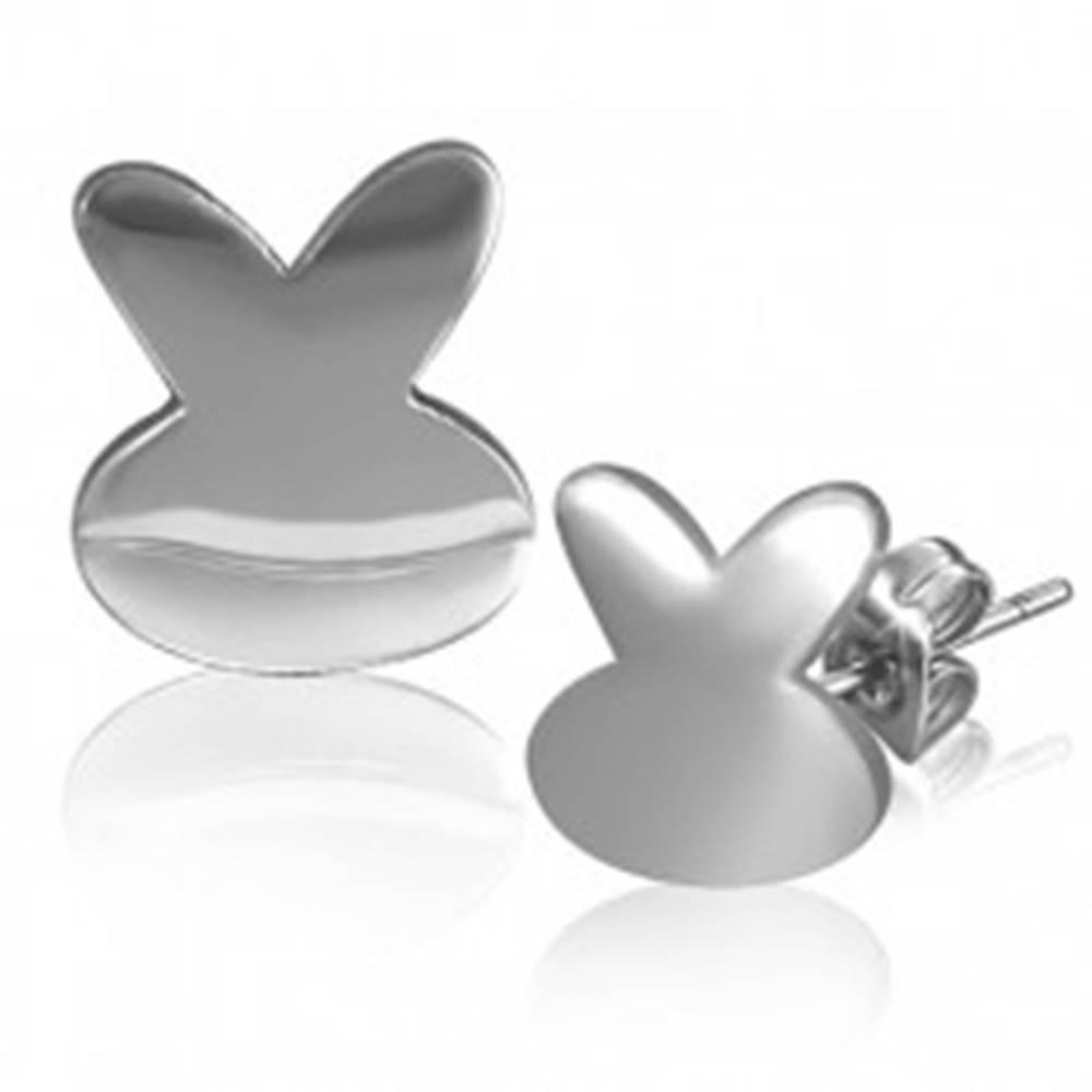 Šperky eshop Oceľové náušnice - lesklý symbol zajka