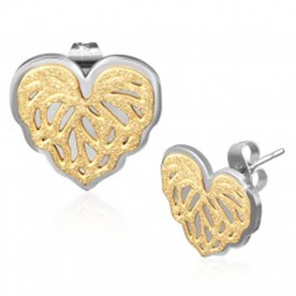 Šperky eshop Oceľové puzetové náušnice - srdiečko, pieskovaná štruktúra zlatej farby