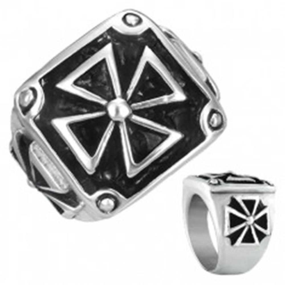 Šperky eshop Pečatný prsteň z ocele - maltézsky kríž v ráme s patinou - Veľkosť: 54 mm