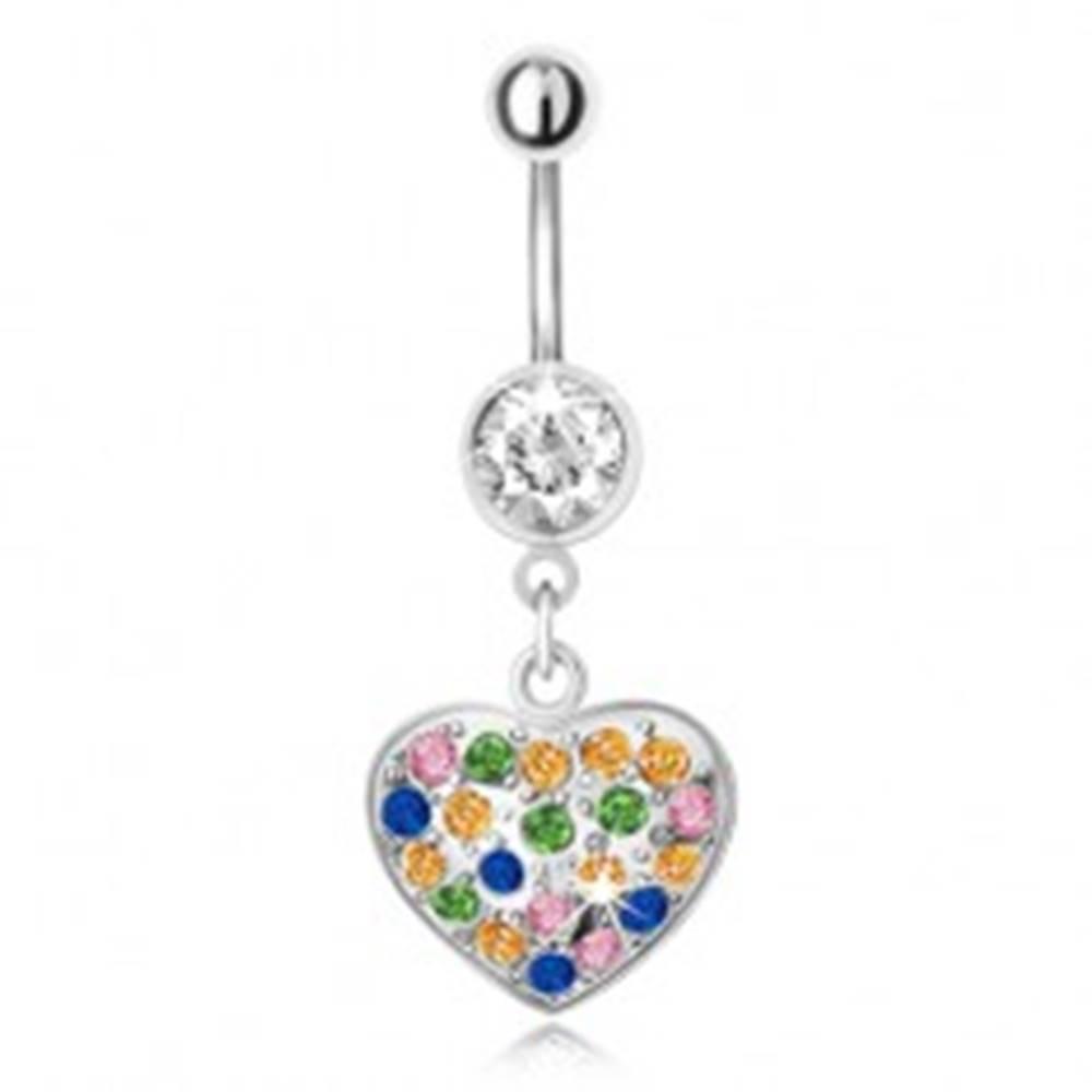 Šperky eshop Piercing do bruška z ocele s príveskom, viacfarebné zirkónové srdce