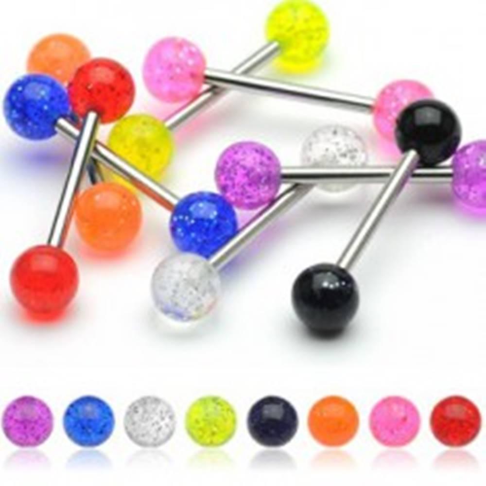 Šperky eshop Piercing do jazyka, farebné guličky s trblietkami - Farba piercing: Číra