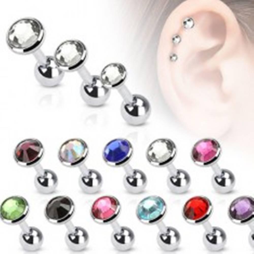 Šperky eshop Piercing do ucha z ocele, okrúhla objímka s farebným zirkónom, 3 mm - Farba zirkónu: Čierna - K